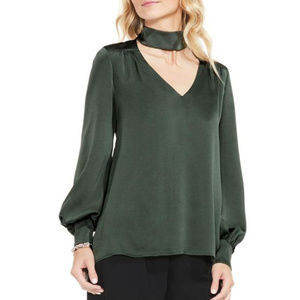 Vince Camuto Mock Choker Blouse Ivy Green 1X